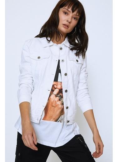 Quzu Jean Ceket Beyaz